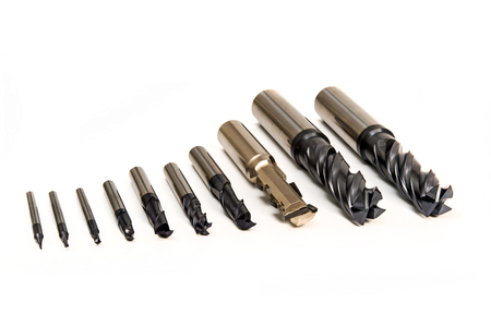 Drill Bits Set Professional Industrial Tools and Equipment on white background Zdjęcie Seryjne