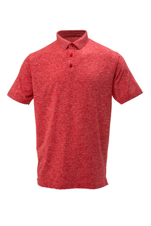 Red and white golf tee shirt with for man on white background Zdjęcie Seryjne - 74329293