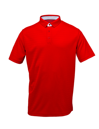 Red golf tee shirt with  with white collar  on white background Zdjęcie Seryjne