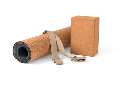 Cork Yoga Mat, Block With Strap, Premium Eco Friendly Product on White Background