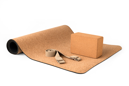 Cork Yoga Mat Set With Cork Block and Strap, Premium Eco Friendly Product on White Background