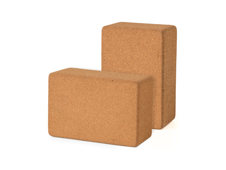 Two Cork Yoga Blocks Eco Friendly Isolated on White Background Zdjęcie Seryjne