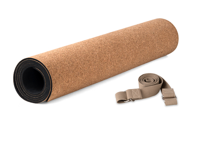 Cork Yoga Mat  Premium Eco Friendly With Strap, Product on White Background