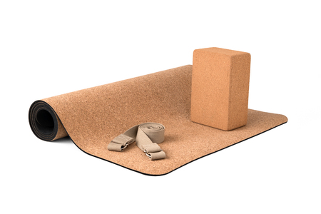 Premium Eco Friendly, Cork Yoga Mat With Strap, Product on White Background Zdjęcie Seryjne