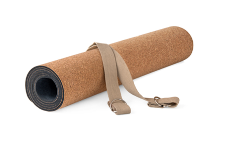 Eco Friendly, Cork Yoga Mat With Strap, Premium Product on White Background Zdjęcie Seryjne - 76049649