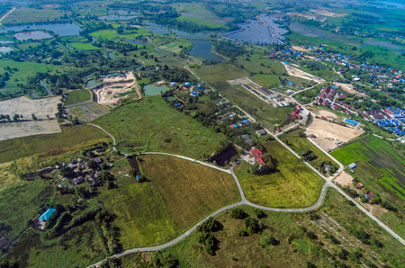 Aerial Photo Farming Agriculture and Land Development in Thailand