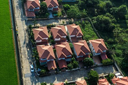 Red roofs in residential area housing, view from the air Stock Photo