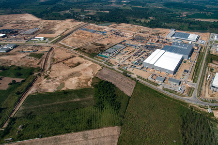 Industrial Estate Land Development Earthmoving and Construction in Thailand Aerial Photography
