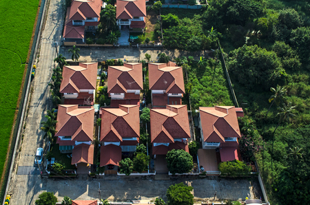 Housing residential area roofs aerial photography