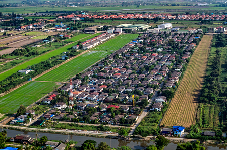 Land Development and Housing Aerial Photography in Thailand Stock Photo