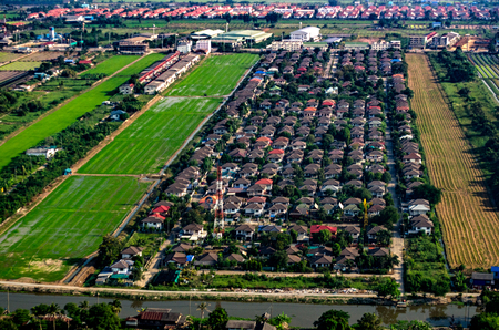 Land Development and Housing Aerial Photography in Asia Stock Photo