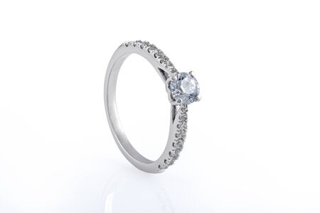 White Gold Wedding, Engagement Rings with Diamonds on white background Zdjęcie Seryjne