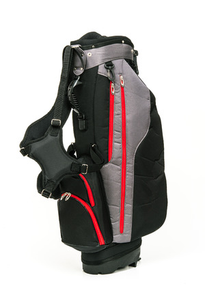 Golf Leather Bag, Black and Gray Color with Red Trimmings on White Background