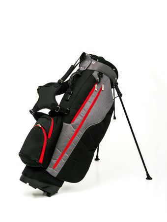 Golf Leather Stand Bag, Black and Gray Color with Red Trimmings on White Background