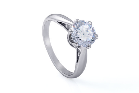 Silver Engagement Ring Jewellery with  Crystals on White Background