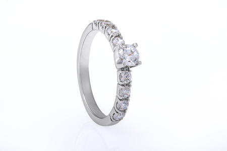 White Gold Wedding, Engagement Ring Jewellery with Diamonds on White Background
