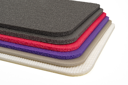 Polyethylene foam, shockproof material multi colour closed up Stock Photo