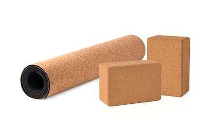Yoga Cork Mat and Blocks Premium and Eco Friendly on White Background