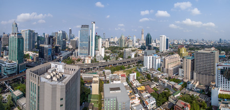 Panorama Bangkok City, Nana and Sukhumvit Road, Aerial Photography Thailand Editorial