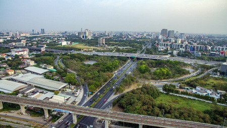 Bangkok Motorway to Suvarnabhumi Airport, Srinakarin Road, Pattanakarn Aerial Photography