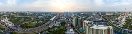 360° panorama Bangkok Motorway to Suvarnabhumi Airport, Srinakarin, Pattanakarn Aerial Photography