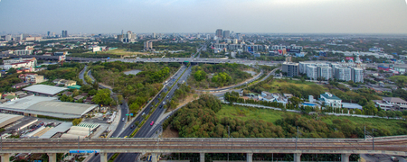 Motorway to Suvarnabhumi Airport, Bangkok Srinakarin Road, Pattanakarn Aerial Photography Editorial