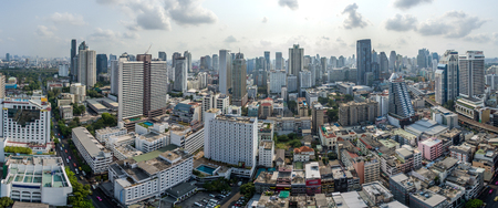 Bangkok City Panorama, Nana and Sukhumvit Road Aerial Photography