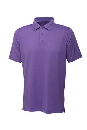 Purple color golf tee shirt for man or woman on white background Banque d'images