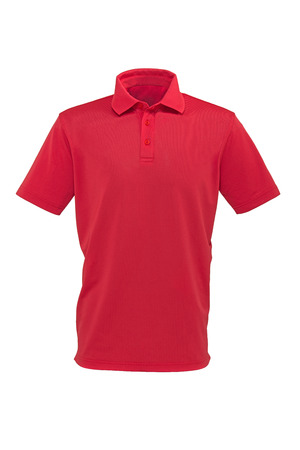Red color golf tee shirt for man or woman on white background Zdjęcie Seryjne