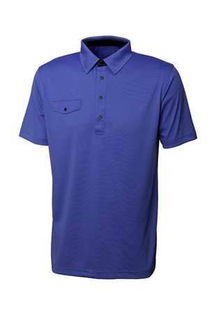 Blue color golf tee shirt for man or woman on white background