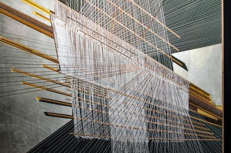 Silk fabric, hand weaving process in Thailand