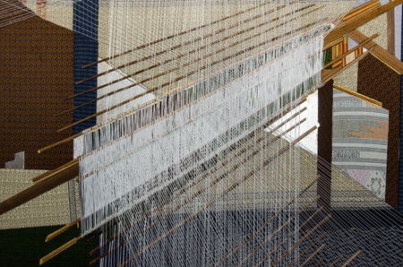 Traditional Thai silk hand weaving process Stock Photo