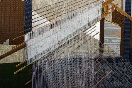 Thai traditional silk hand weaving process Banque d'images