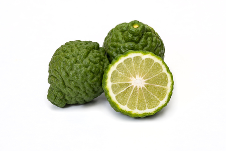 Citrus hystrix, bergamot fruit on white background