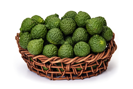 Citrus hystrix, in basket of wicker, bergamot fruit for herbal medicine