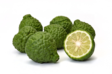 Kaffir limes, bergamot fruit on white background