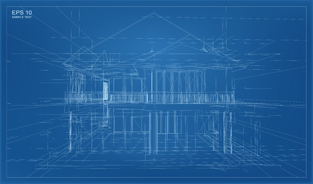 residential home: Abstract 3D render of building wireframe structure. Illustration