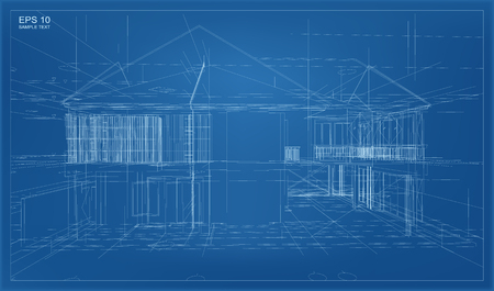 perspective grid: Abstract 3D render of building wireframe structure. Illustration