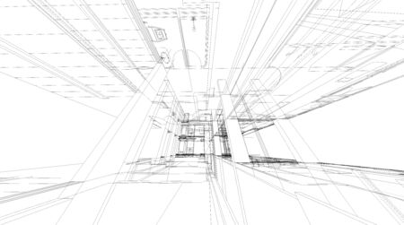 grid: Abstract 3D render of building wireframe structure. Stock Photo
