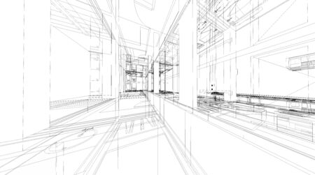 abstract building: Abstract 3D render of building wireframe structure. Stock Photo