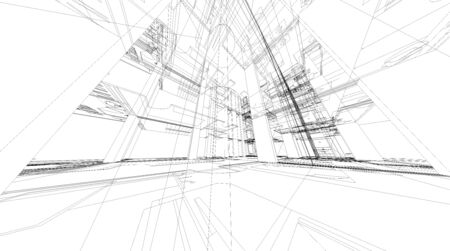 Abstract 3D render of building wireframe structure. 版權商用圖片
