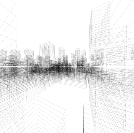 Perspective 3D render of building blueprint wireframe.