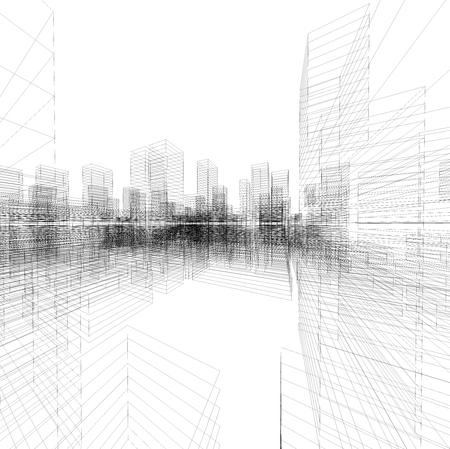 Perspective 3D render of building blueprint wireframe.
