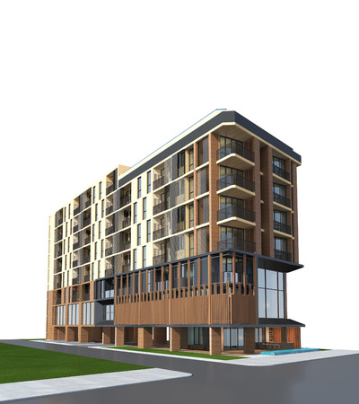 render residence: 3D render of building on white background