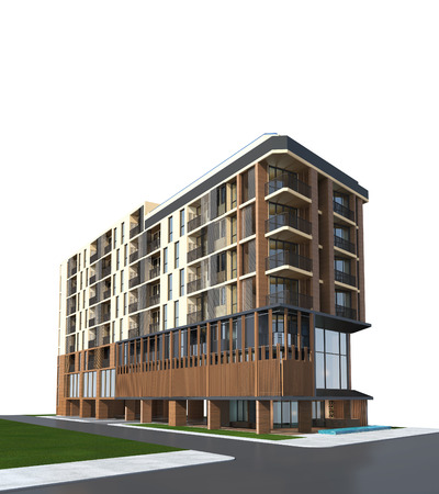 3D render of building on white background