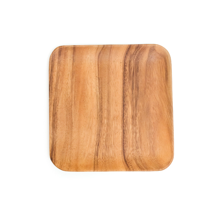 dish disk: Wooden square plate isolated on white background.