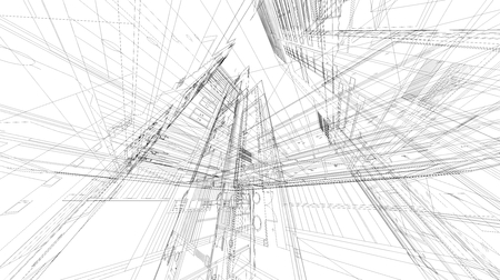 Abstract 3D wire frame space.