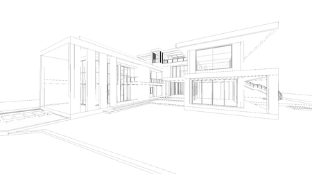 wire frame: Abstract wire frame perspective of 3D house.