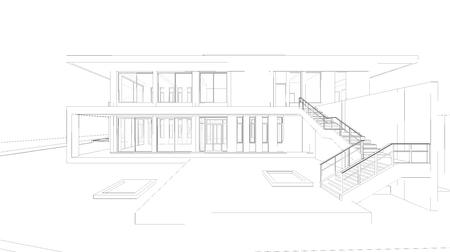 3D 집의 추상 와이어 프레임 관점입니다.