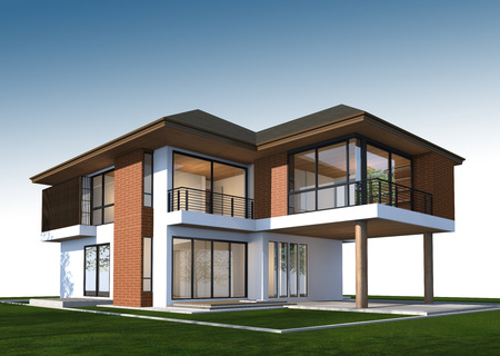 3D rendering of tropical house
